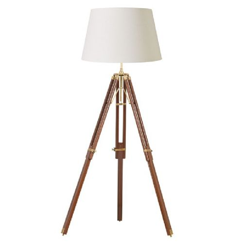 Sheesham wood & solid brass floorlamp BXEH-TRIPOD-FLDW-17 by Endon (Class 2 Double Insulated)